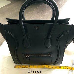 Celine Mini Luggage Tote - Black Lambskin